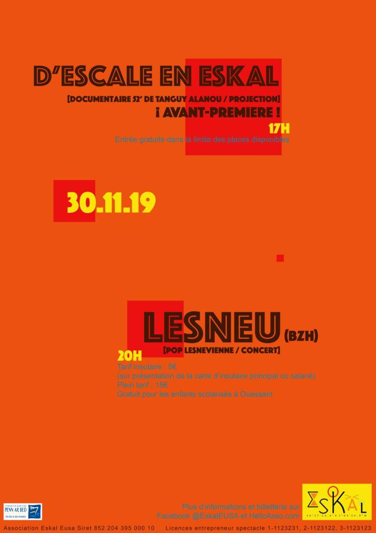 Le mois de novembre se termine en beauté à l'Eskal avec une projection et un concert le 30 novembre